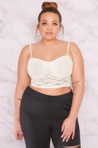 Party Tops LIMITED COLLECTION Ivory Lace Bralette With Spaghetti Straps 210075