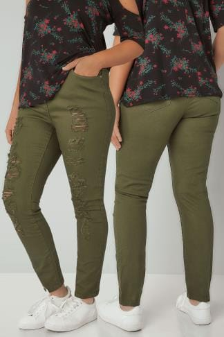 Skinny Jeans LIMITED COLLECTION Khaki Distressed Skinny Jeans 210178
