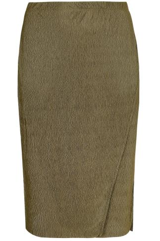 LIMITED COLLECTION Khaki Plisse Wrap Skirt