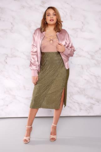 Midi Skirts LIMITED COLLECTION Khaki Plisse Wrap Skirt 210037