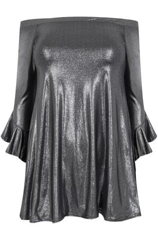 LIMITED COLLECTION Metallic Silver Bardot Top With Flute Sleeves