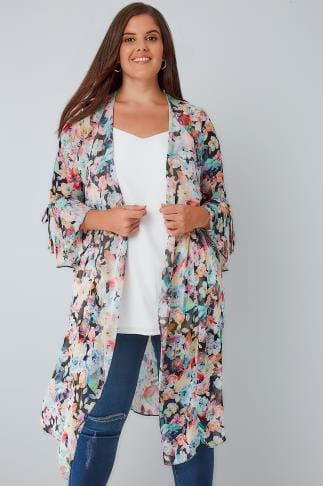 Jacken LIMITED COLLECTION Multi Floral Chiffon Duster Jacket With Flute Sleeves 210032