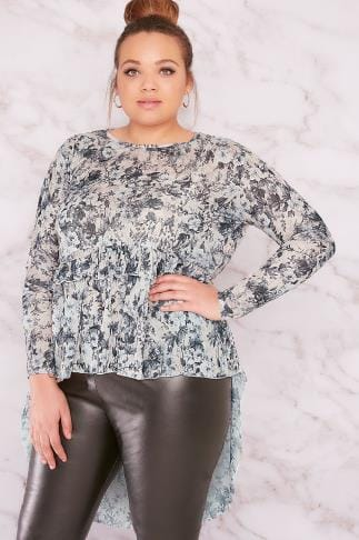 Jersey Tops LIMITED COLLECTION Multi Floral Print Frill Top With Dip Hem 210115