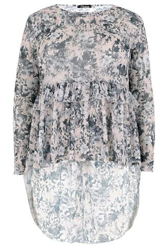 LIMITED COLLECTION Multi Floral Print Frill Top With Dip Hem