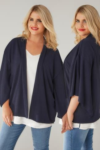 Jackets LIMITED COLLECTION Navy Kimono Sleeve Jacket 210221