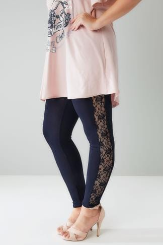 Fashion Leggings LIMITED COLLECTION Navy Leggings With Lace Inserts 210223