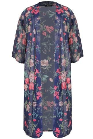 LIMITED COLLECTION Navy & Multi Floral Print Mesh Kimono