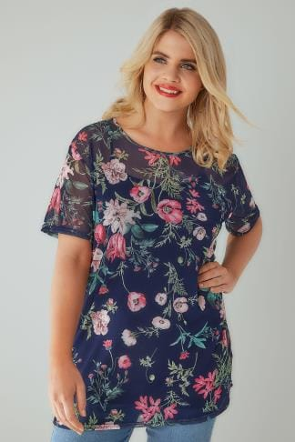 Party Tops LIMITED COLLECTION Navy & Multi Floral Print Mesh T-Shirt 210222