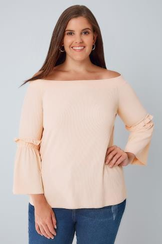 Bardot & Cold Shoulder Tops LIMITED COLLECTION Nude Pink Bardot Top With Frill Flute Sleeves 210072