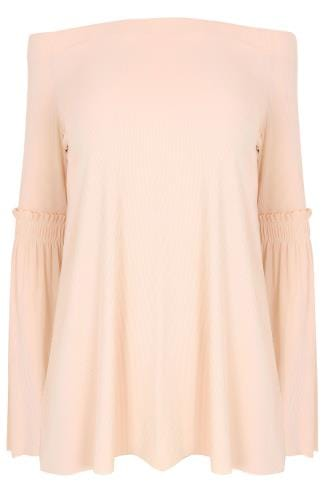 LIMITED COLLECTION Nude Pink Bardot Top With Frill Flute Sleeves