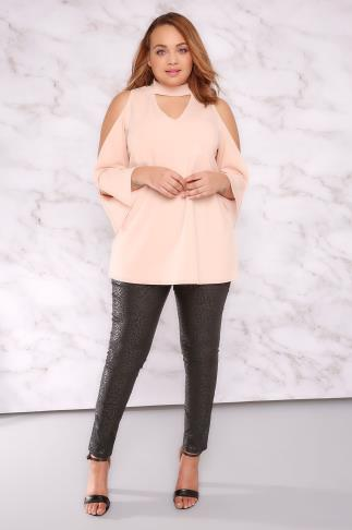 Party Tops LIMITED COLLECTION Nude Pink Choker Neck Swing Top With Exposed Arms 210004