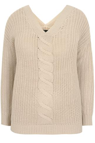 LIMITED COLLECTION Oatmeal Cable Knit V-Neck Jumper
