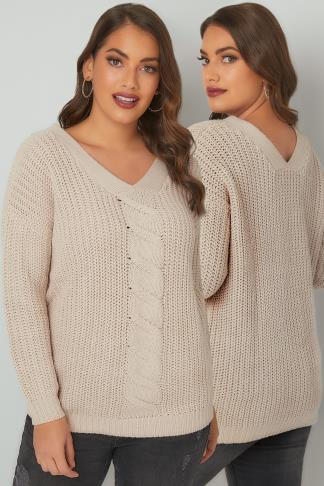 Jumpers LIMITED COLLECTION Oatmeal Cable Knit V-Neck Jumper 210185