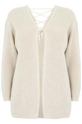 LIMITED COLLECTION Oatmeal Knitted Cardigan With Lace-Up Back Detail
