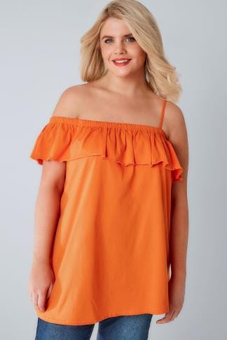 Jersey Tops LIMITED COLLECTION Orange One Shoulder Strap Top With Frill Panel 210172