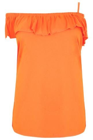LIMITED COLLECTION Orange One Shoulder Strap Top With Frill Panel