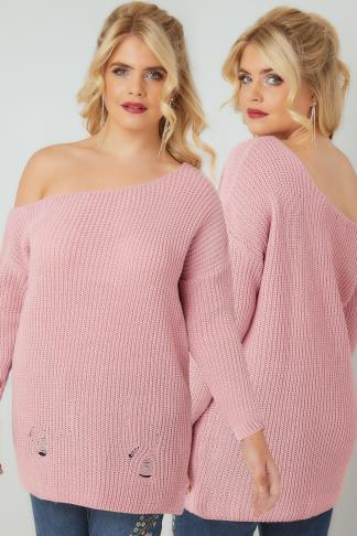 Jumpers LIMITED COLLECTION Pink Chunky Knit Asymmetric Jumper 210220