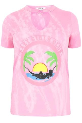 "LIMITED COLLECTION Pink Tie Dye ""Lazy Girls Club"" With Choker Ring Neck"