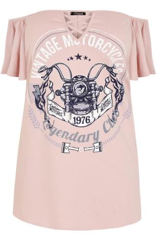 "LIMITED COLLECTION Pink ""Vintage Motorcycles"" Bardot Top"
