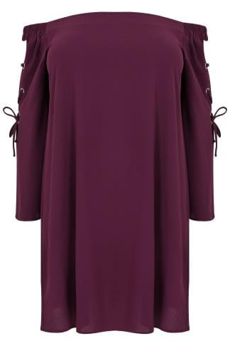 LIMITED COLLECTION Purple Bardot Dress With Eyelet Lace-Up Detail Sleeves