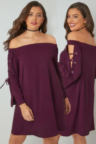Party Dresses LIMITED COLLECTION Purple Bardot Dress With Eyelet Lace-Up Detail Sleeves 210246