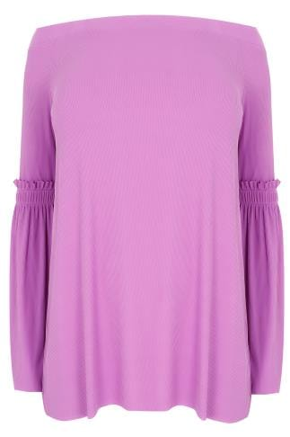 LIMITED COLLECTION Purple Bardot Top With Frill Flute Sleeves