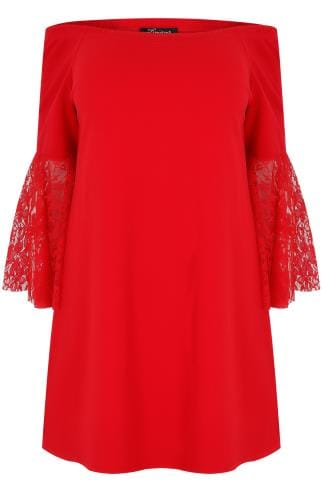LIMITED COLLECTION Red Bardot Top With Lace Flute Sleeves