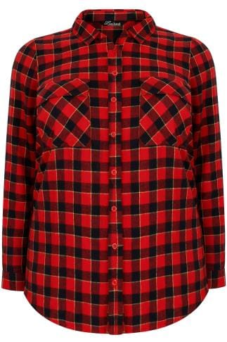 LIMITED COLLECTION Red Checked Brushed Shirt With Two Chest Pockets