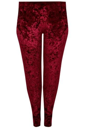 Joggers LIMITED COLLECTION Red Crushed Velvet Joggers 210281