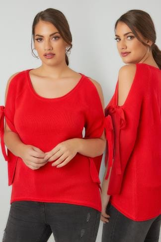 Jumpers LIMITED COLLECTION Red Dipped Hem Jumper With Open Arms & Tie Fastenings 210191