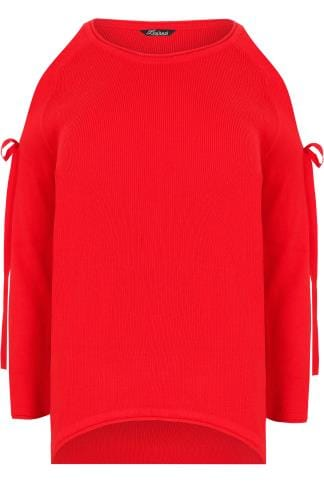 LIMITED COLLECTION Red Dipped Hem Jumper With Open Arms & Tie Fastenings