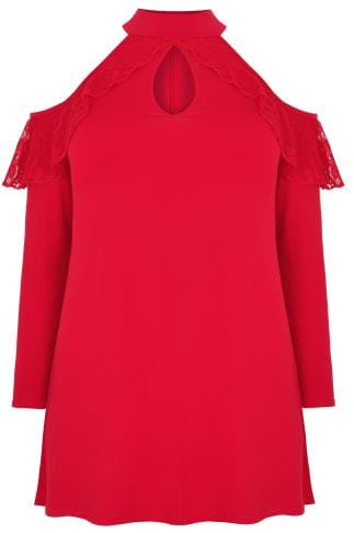 Jersey Tops LIMITED COLLECTION Red Long Sleeve Cold Shoulder Top With Lace Detail 210235