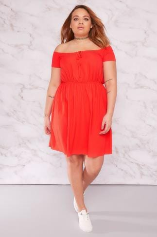 Skater Dresses LIMITED COLLECTION Red Ribbed Bardot Dress With Tie Front 210068