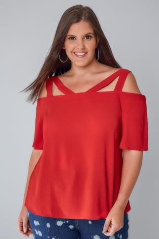 Bardot & Cold Shoulder Tops LIMITED COLLECTION Red Strappy Bardot Top 210065