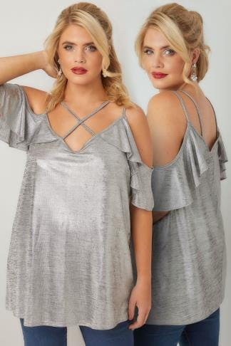 Bardot & Cold Shoulder Tops LIMITED COLLECTION Silver Metallic Cold Shoulder Top With Cross Over Straps 210238