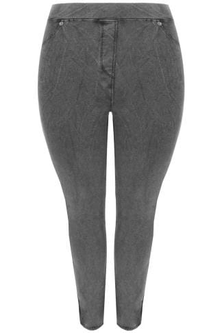 LIMITED COLLECTION Washed Dark Grey Denim Pull On Stretch Jeggings