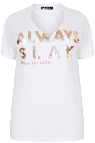 "LIMITED COLLECTION White ""Always Slay"" Top With Choker Neck"
