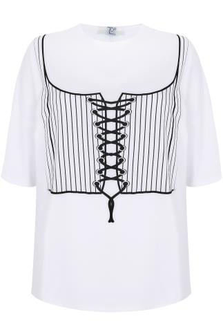 LIMITED COLLECTION White Corset Print T-Shirt With Lace Up Back