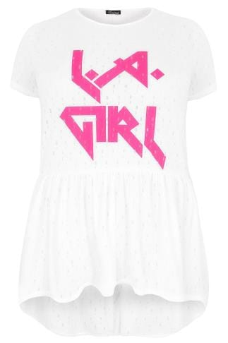 "LIMITED COLLECTION White & Hot Pink ""LA Girl"" Print Top With Frill Curved Hem"