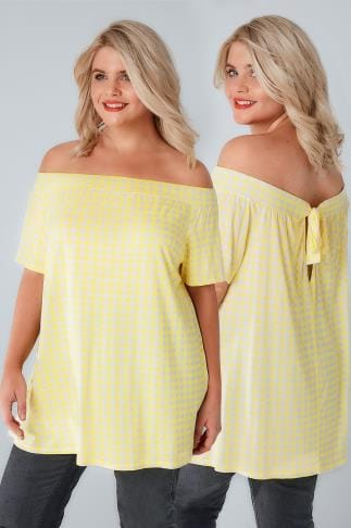 Bardot & Cold Shoulder Tops LIMITED COLLECTION White & Lemon Gingham Print Bardot Top With Tie Back 210166