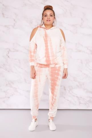 Sweat Tops LIMITED COLLECTION White & Peach Tie Dye Cold Shoulder Hoodie 210080