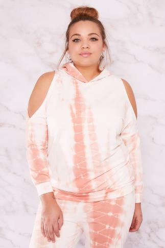 Sweats LIMITED COLLECTION White & Peach Tie Dye Cold Shoulder Hoodie 210080