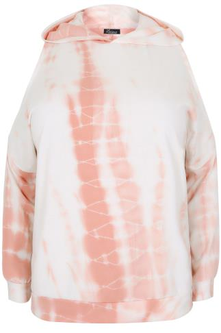 LIMITED COLLECTION White & Peach Tie Dye Cold Shoulder Hoodie