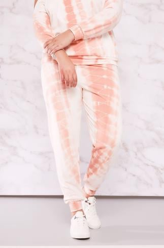 Joggers Full Length LIMITED COLLECTION White & Peach Tie Dye Joggers 210081