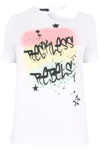 "LIMITED COLLECTION White ""Reckless Rebels"" Slogan Top With Distressed Neckline"