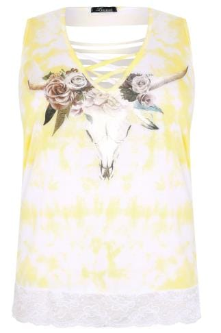 Jersey Tops LIMITED COLLECTION White & Yellow Sleeveless Top With Lattice Neckline & Lace Hem 210123