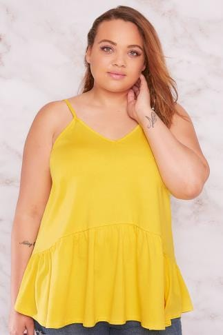 Jersey Tops LIMITED COLLECTION Yellow Cami Top With Frill Hem 210174