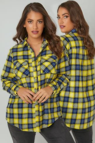 Shirts LIMITED COLLECTION Yellow Checked Brushed Shirt With Two Chest Pockets 210199