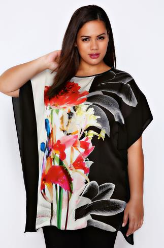 LIVE UNLIMITED Black & Multi Floral Print Kaftan Style Top
