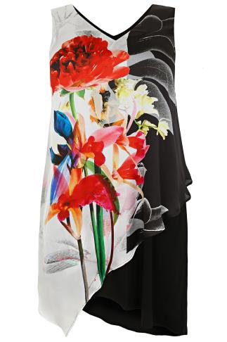 LIVE UNLIMITED Black & Multi Floral Print Overlay Asymmetric Dress